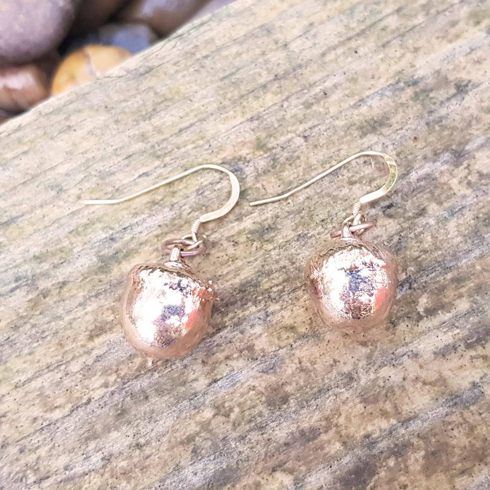 Acorn Rose Gold Plate Earrings