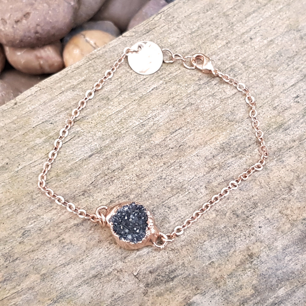 Rose gold plate grey quartz druzy bracelet