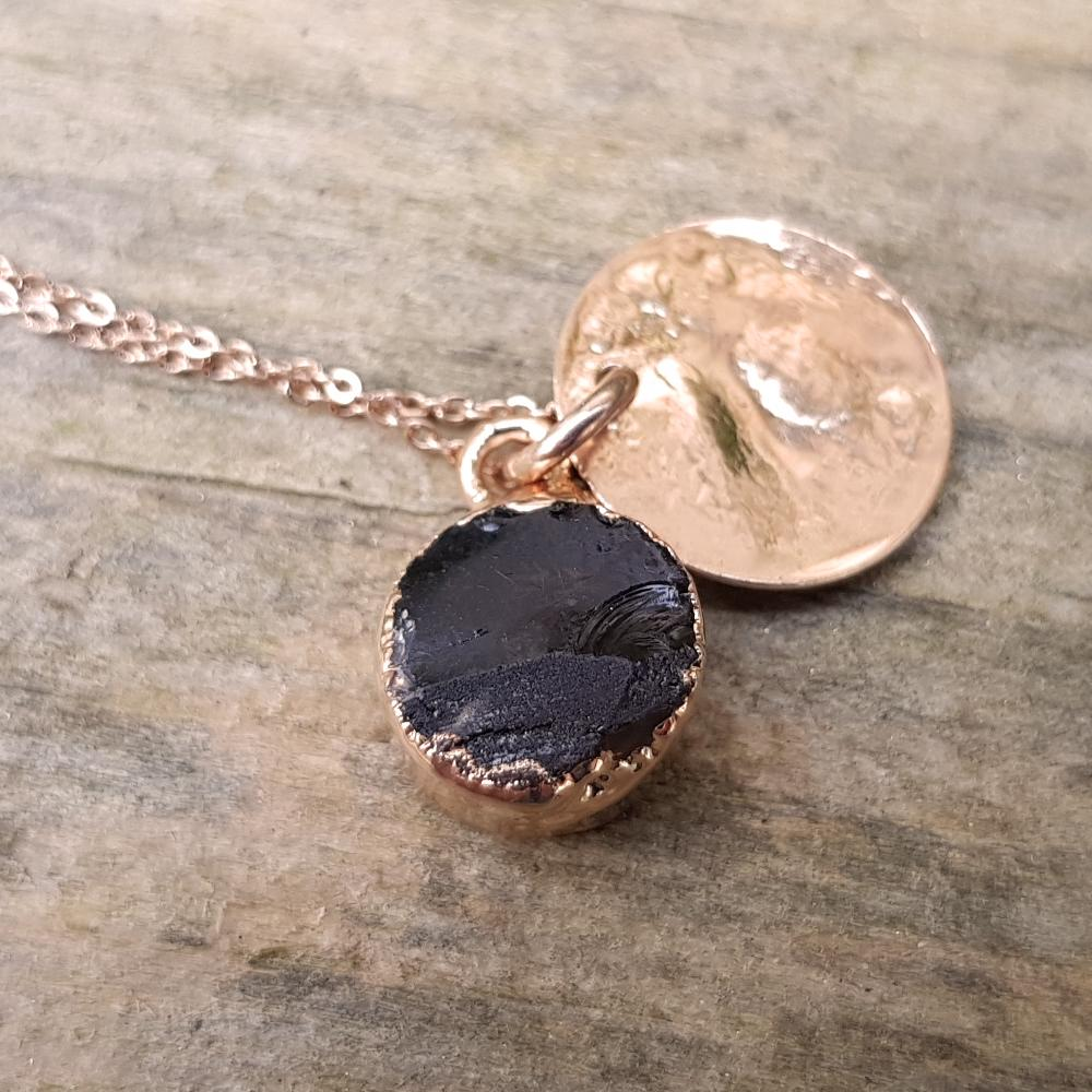 Rose gold plate smoky quartz pendant