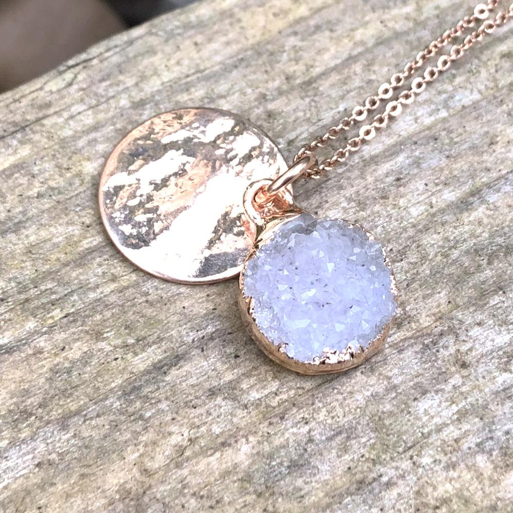 Rose gold plate druzy pendant