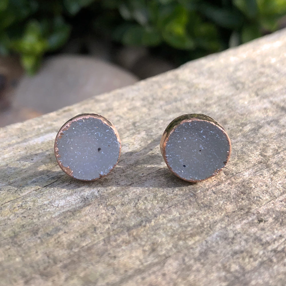 Rose gold plate druzy stud earrings