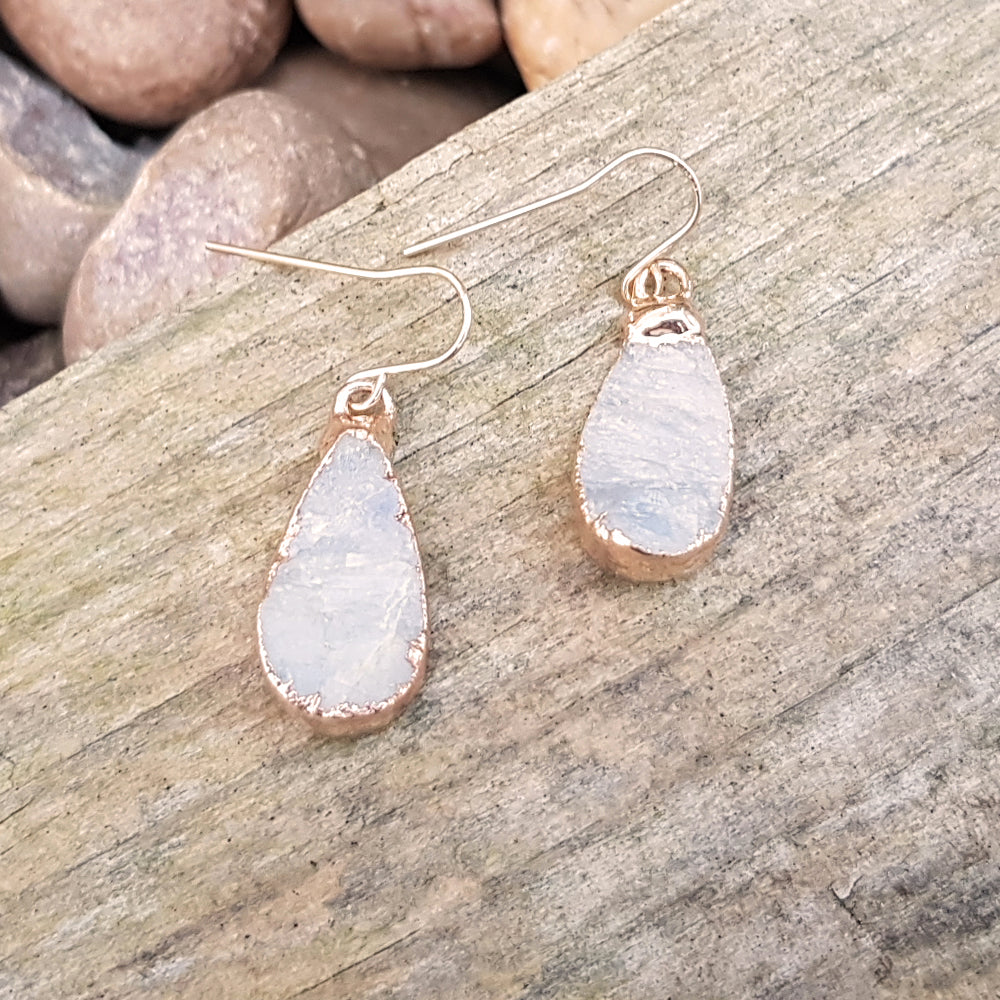 Rose Gold Plate Moonstone Teardrop Earrings