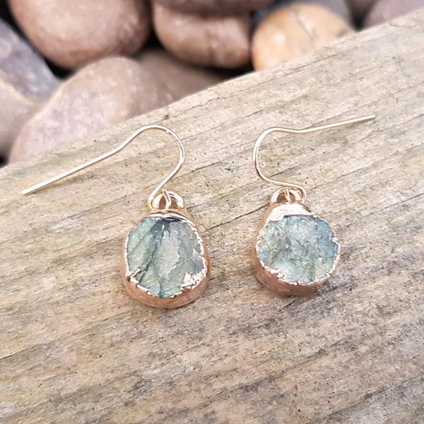 Rose gold plate labradorite circular earrings