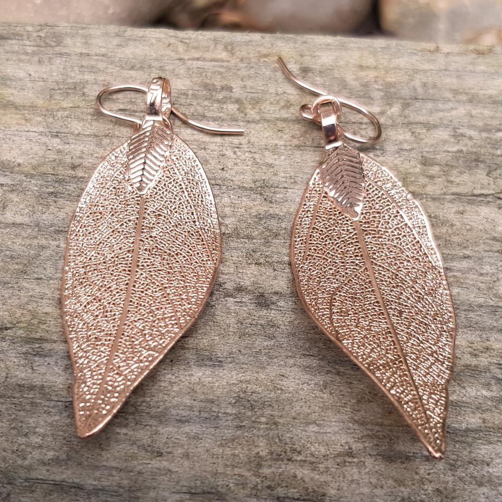 Magnolia Rose Gold Plate Leaf Earrings
