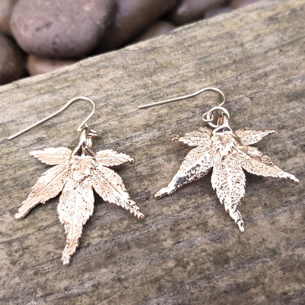 Japanese Maple Rose Gold Plate Leaf Earrings