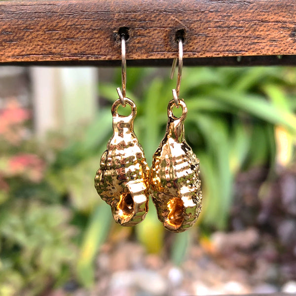 Gold plate wentletrap seashell drop earrings