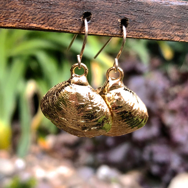 Gold plate rose petal seashell drop earrings
