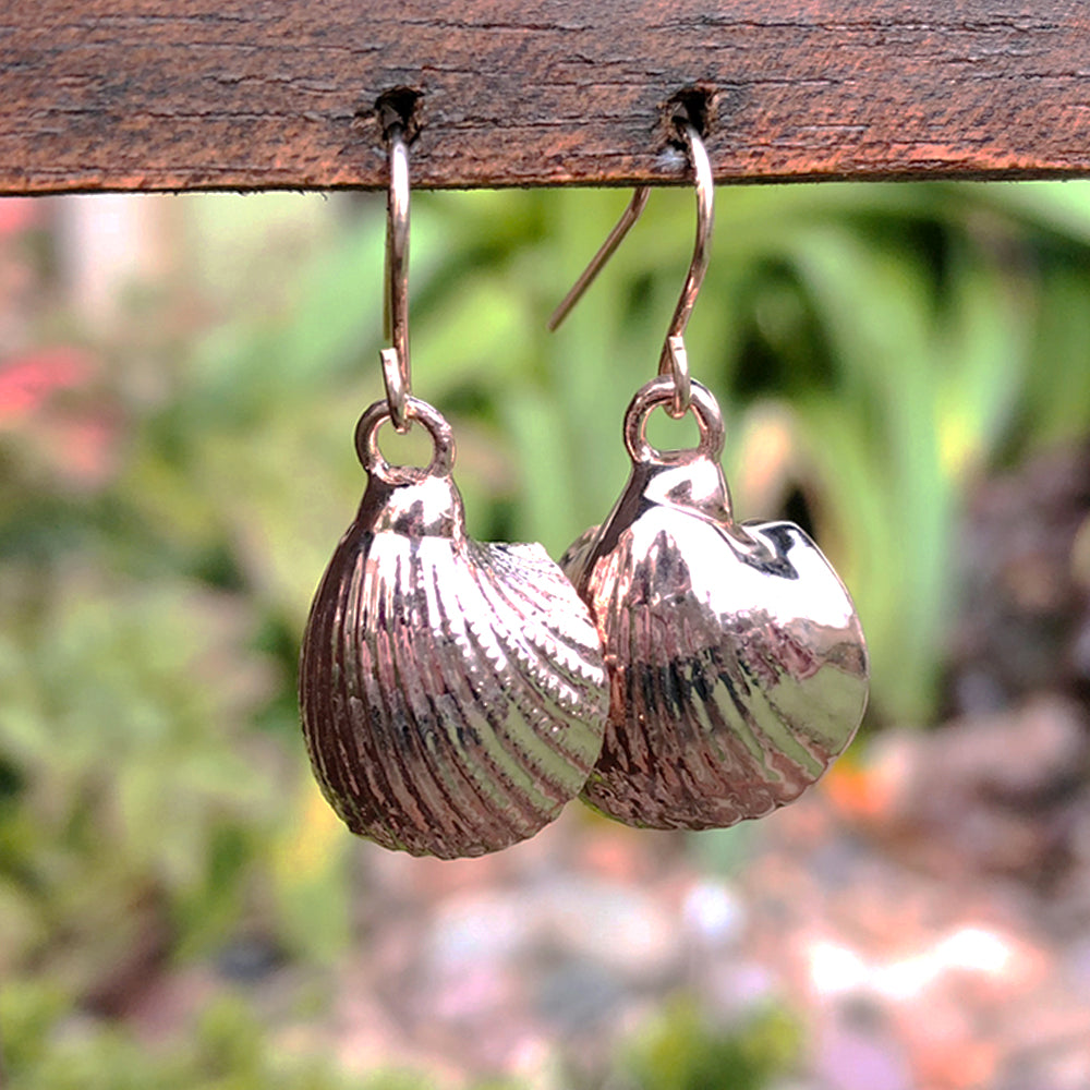 Rose gold plate bay scallop seashell drop earrings
