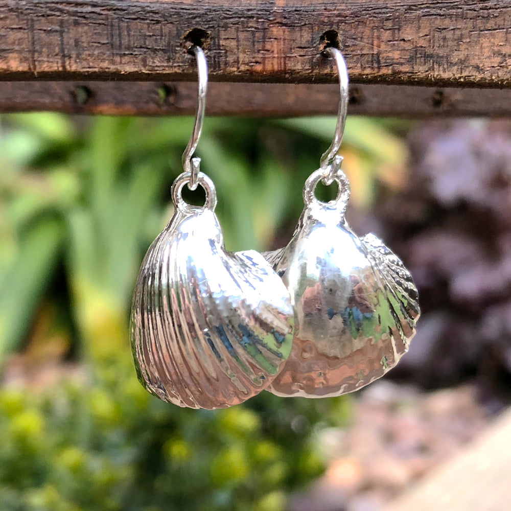 Sterling silver plate bay scallop seashell drop earrings