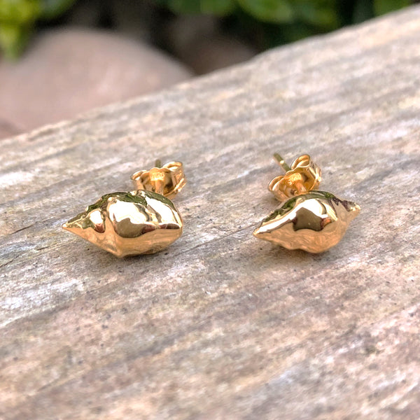 Gold plate sharp rib drill stud earrings
