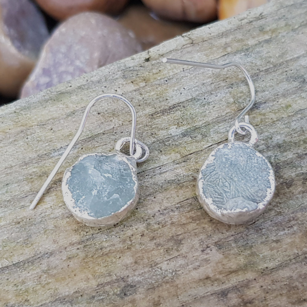 Silver Plate Aquamarine Circular Earrings