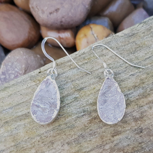 Silver Plate Rose Quartz Teardrop Earrings