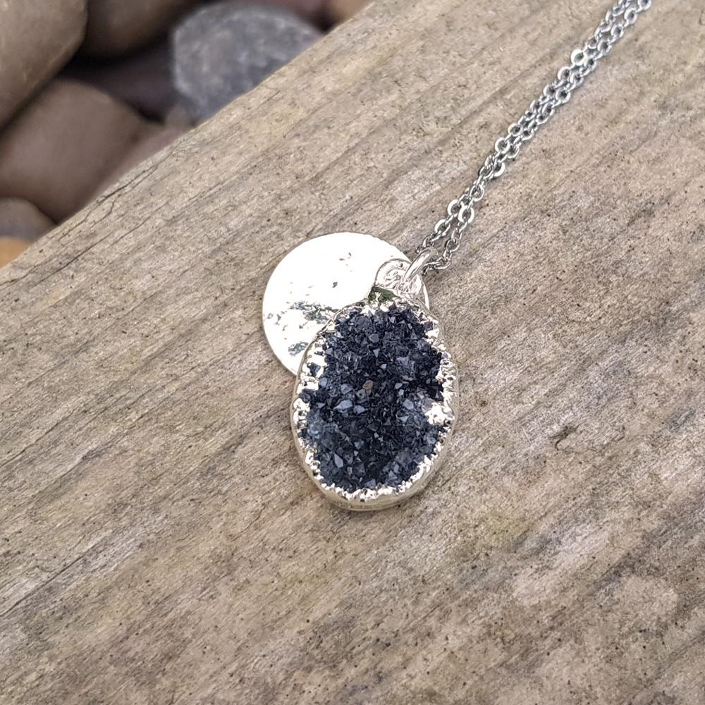 Sterling silver plate druzy oval shaped pendant