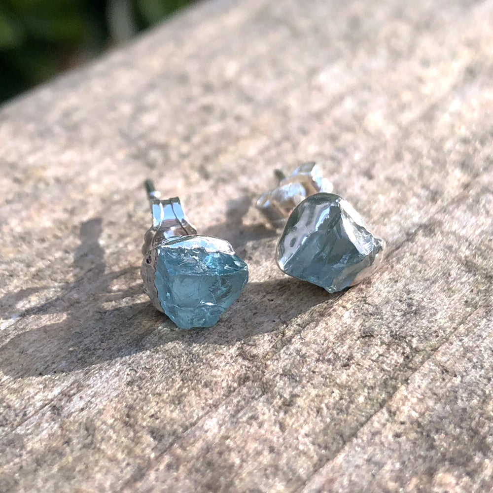 Sterling Silver Aquamarine studs
