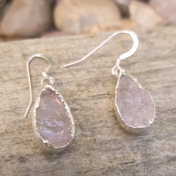Sterling silver plate rose quartz teardrop earrings