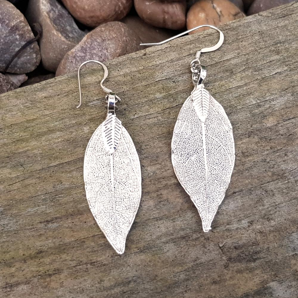 Magnolia Silver Plate Leaf Earrings