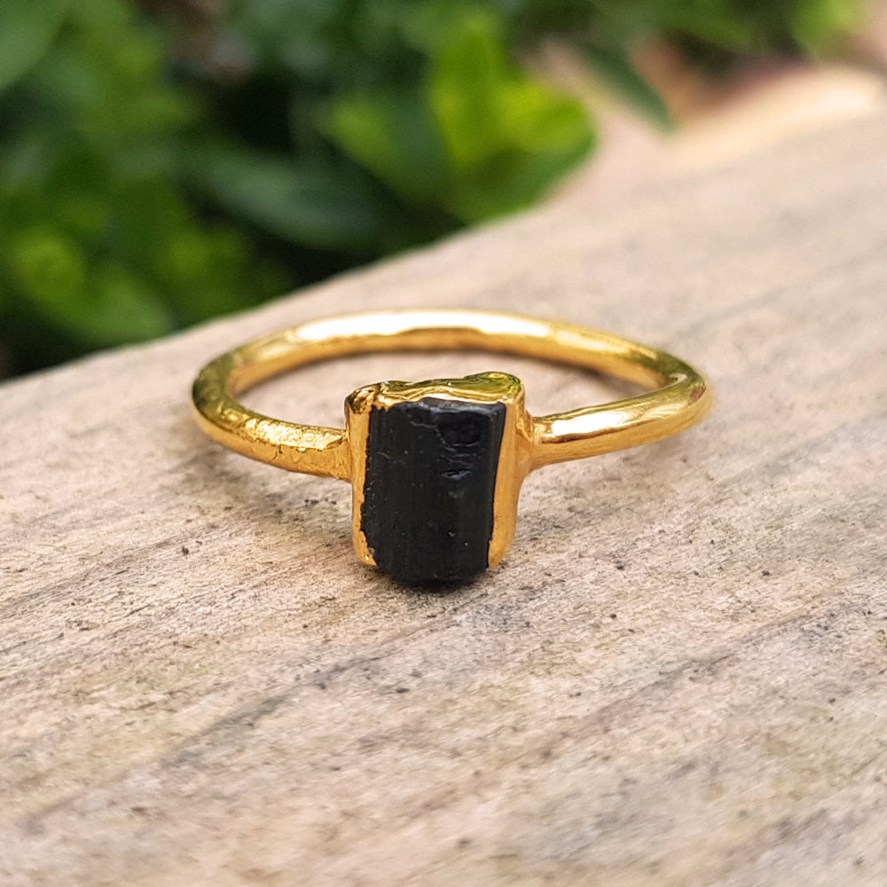 Gold plate Black Tourmaline stacking ring, Size O