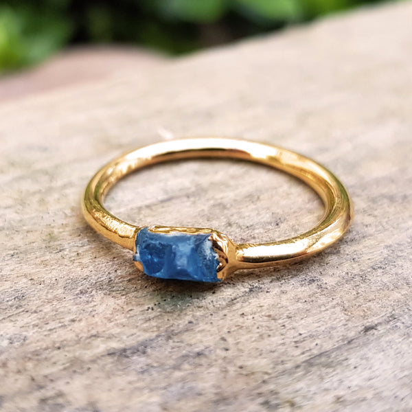 Gold plate Lapis Lazuli stacking ring, Size O