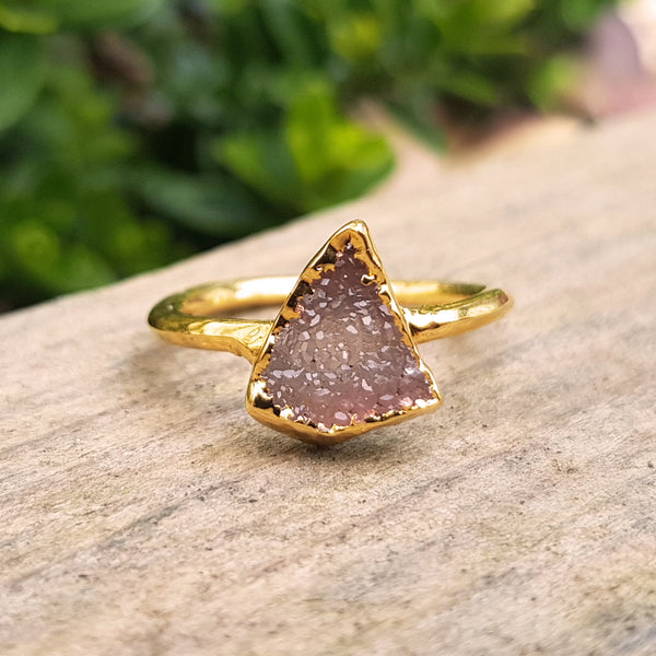 Gold plate Smoky Quartz Druzy stacking ring, Size Q