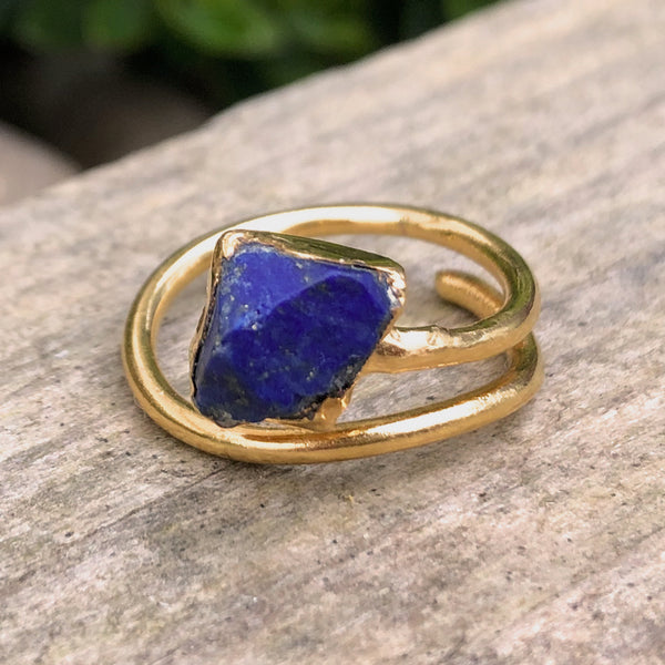 Gold plate adjustable Lapis Lazuli stacking ring, Size K - O