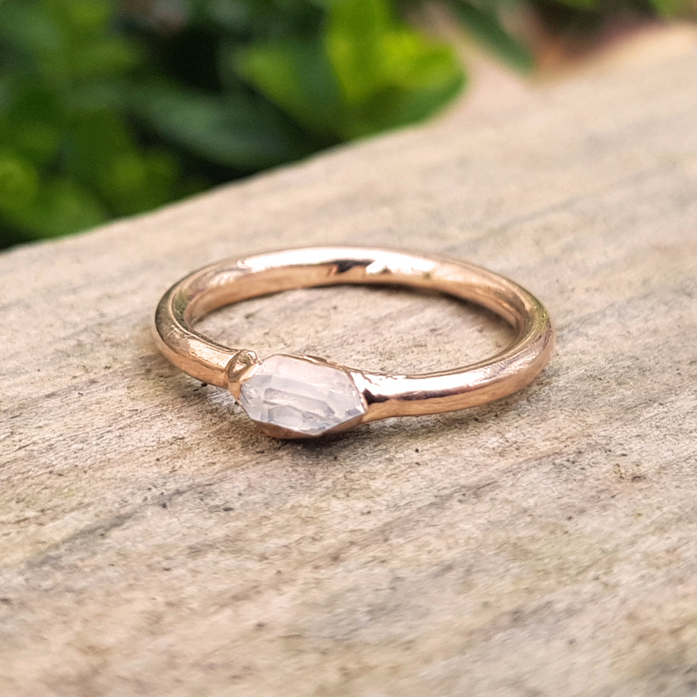 Rose gold plate Herkimer Diamond stacking ring, Size J