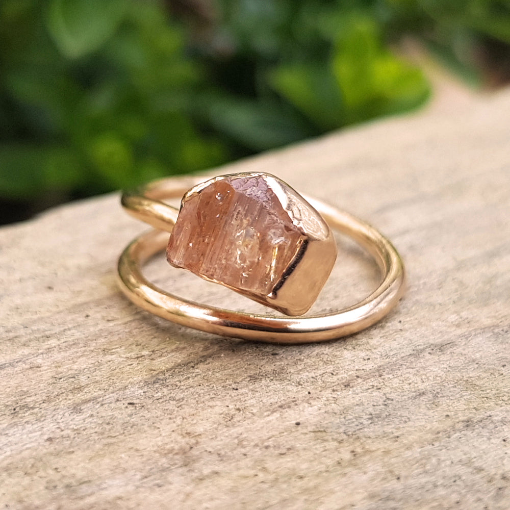 Rose gold adjustable Imperial Topaz stacking ring, Size L-O