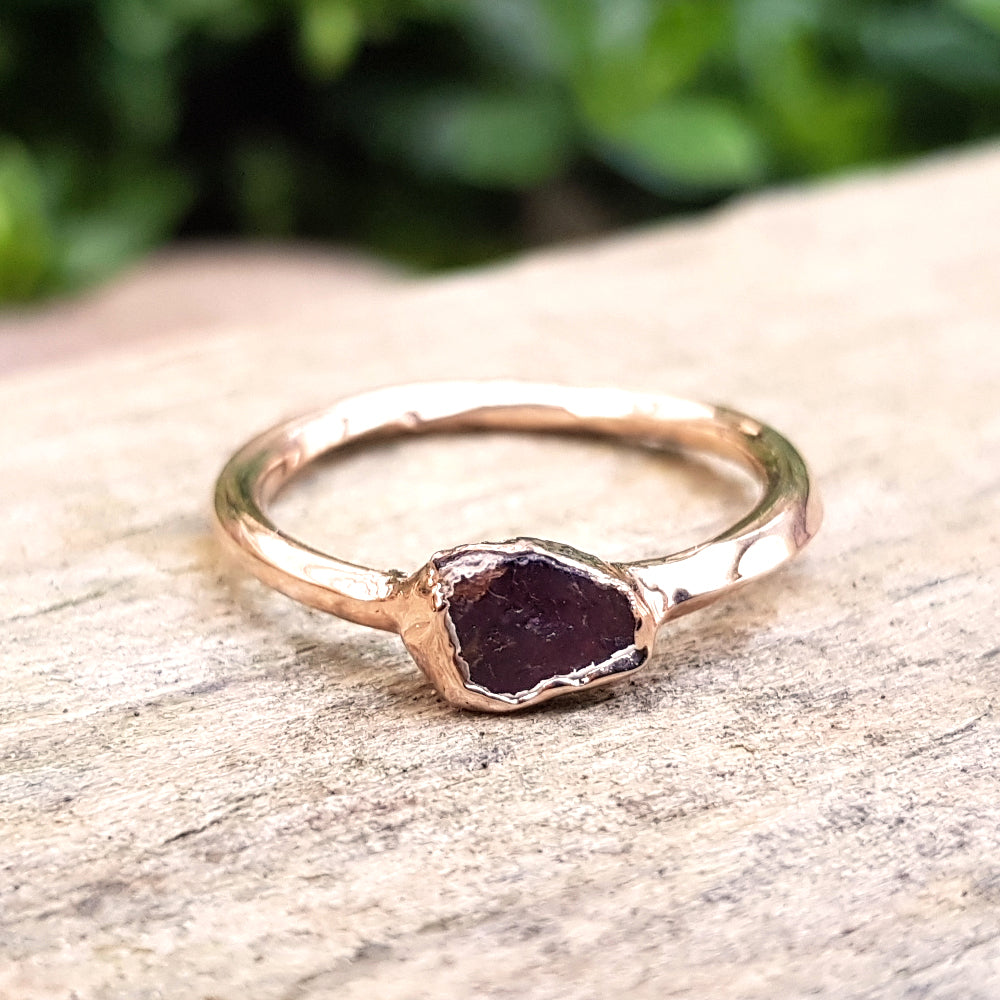 Rose gold plate Red Tourmaline stacking ring, Size N