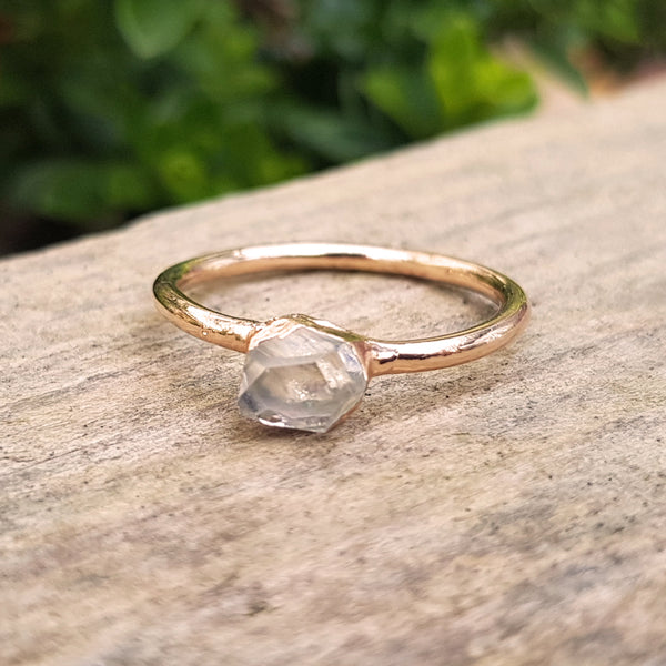 Rose gold plate Herkimer Diamond stacking ring, Size L