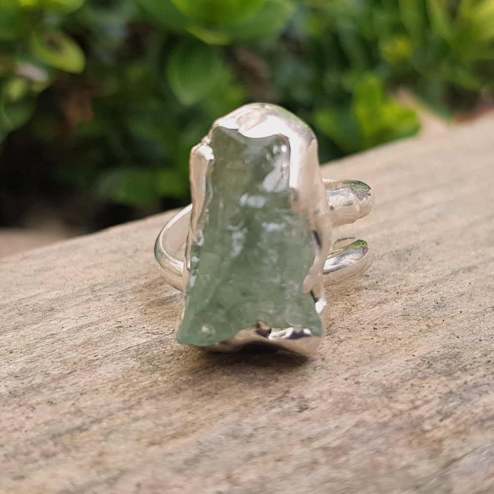 Sterling silver plate green tourmaline Stacking Ring 10*