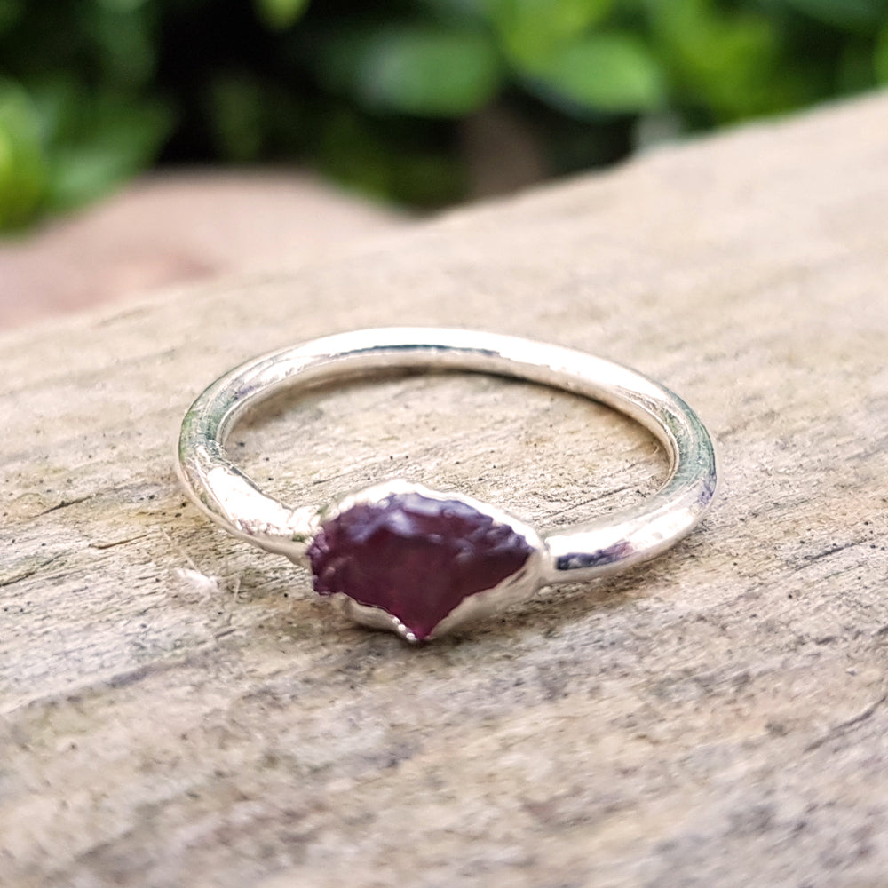Sterling silver plate Red Tourmaline stacking ring, Size L