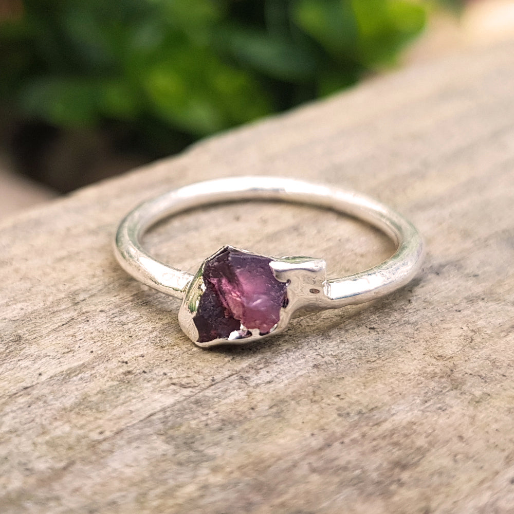 Sterling silver plate Pink Tourmaline stacking ring, Size N-O