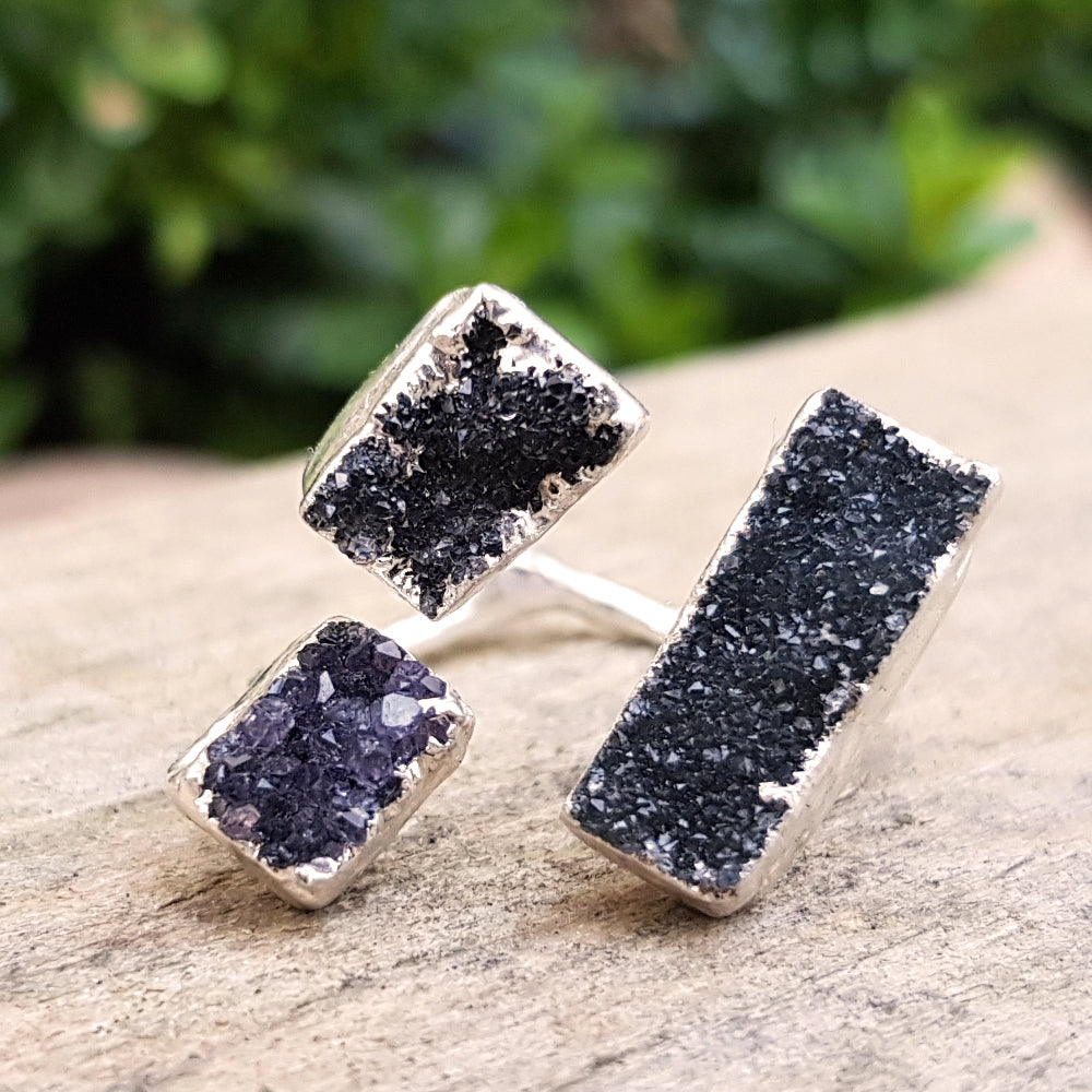 Sterling silver plate black quartz druzy mini triple ring