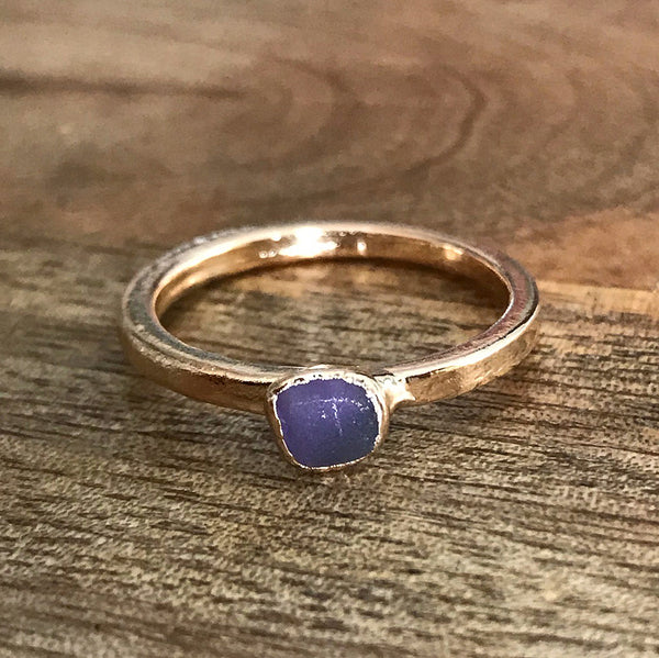 Gold Plate Amethyst Stacking Ring, UK O, US 7 1/4