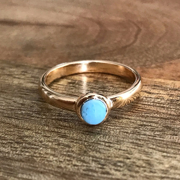 Gold Plate Turquoise Stacking Ring, UK L, US 5 1/2