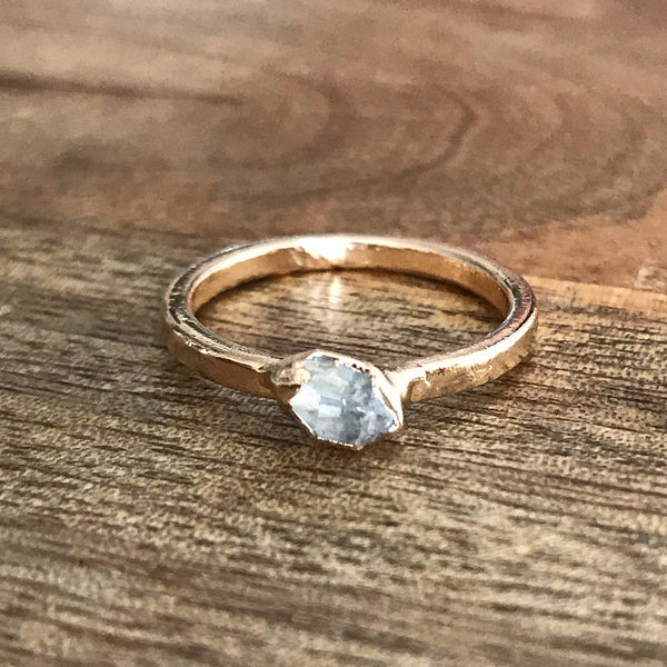 Gold Plate Herkimer Diamond Stacking Ring, UK K, US 5 1/4