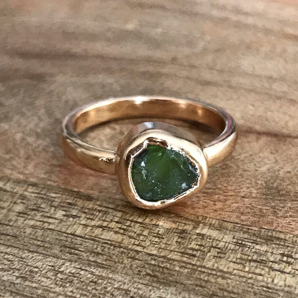 Gold Plate Peridot Ring, UK N, US 6 1/2
