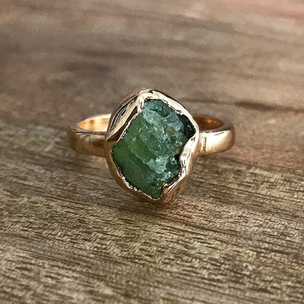 Gold Plate Peridot Ring, UK N, US 7