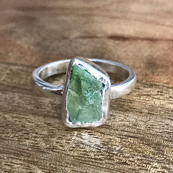 Silver Plate Peridot Ring, UK S