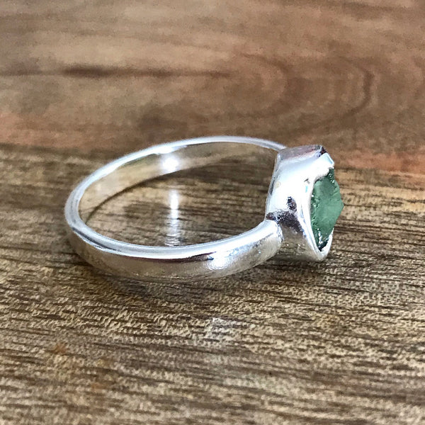 Silver Plate Peridot Ring, UK Q