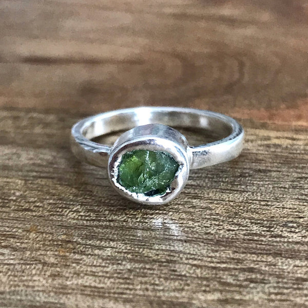 Silver Plate Peridot Ring, UK R