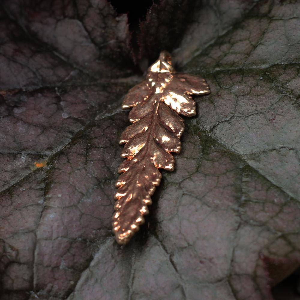 Fern Rose Gold Plate Leaf Pendant
