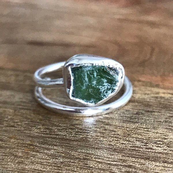 Silver Plate Peridot Adjustable Ring, UK P - R, US 7 1/2 - 8 1/2