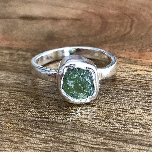 Silver Plate Peridot Ring, UK P, US 7 1/2
