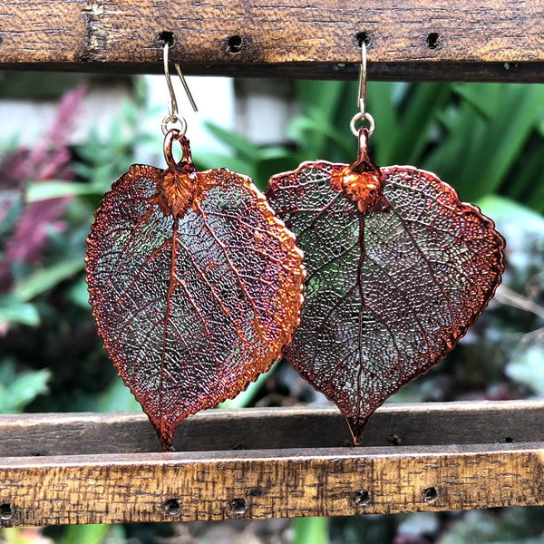 Aspen Autumn Copper Real Leaf Earrings
