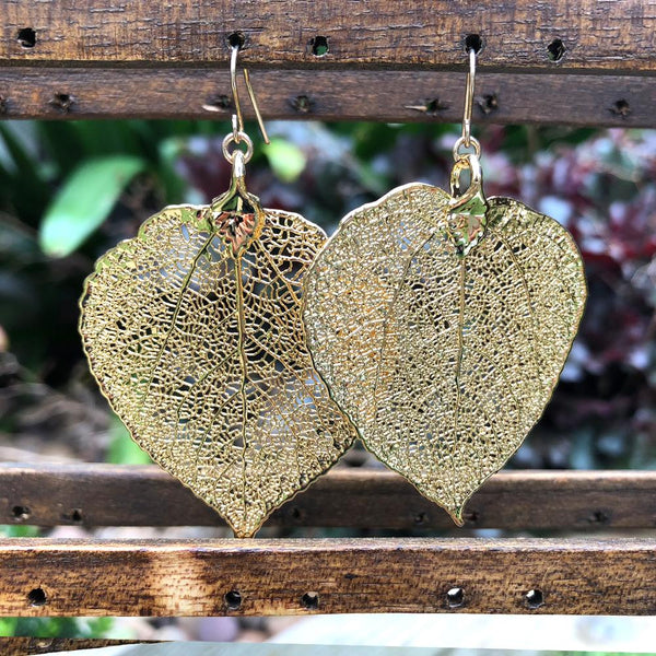 Aspen Gold Plate Leaf Earrings
