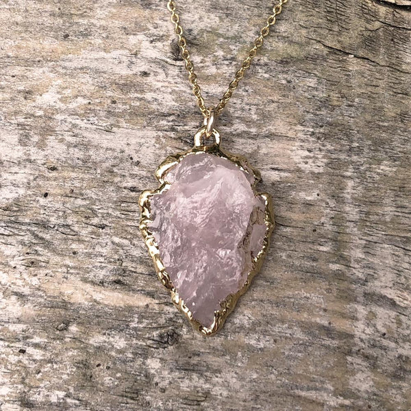 Gold Plate Rose Quartz Arrowhead Pendant