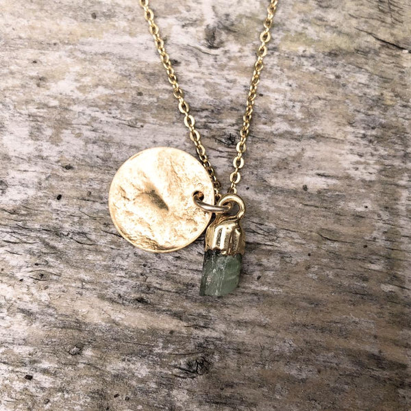 Gold plate Green Tourmaline pendant