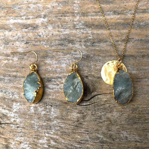 Gold Plate Aquamarine Teardrop Pendant & Earring Set