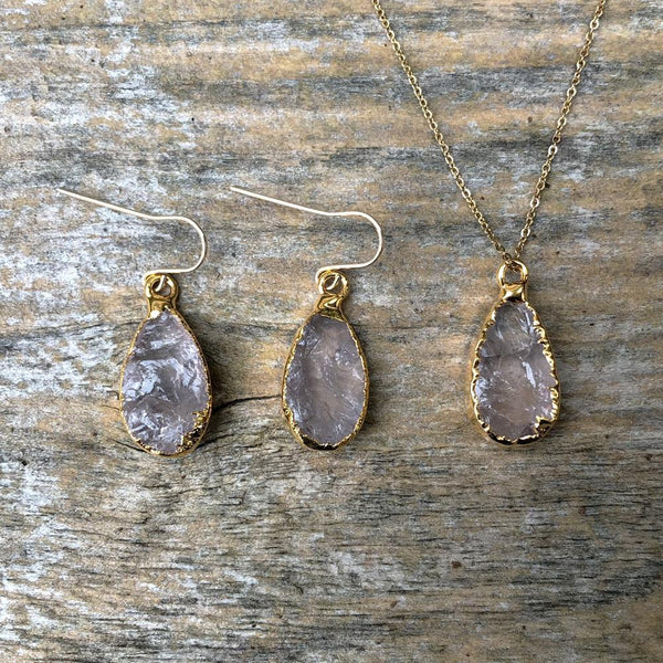 Gold Plate Rose Quartz Teardrop Pendant & Earring Set