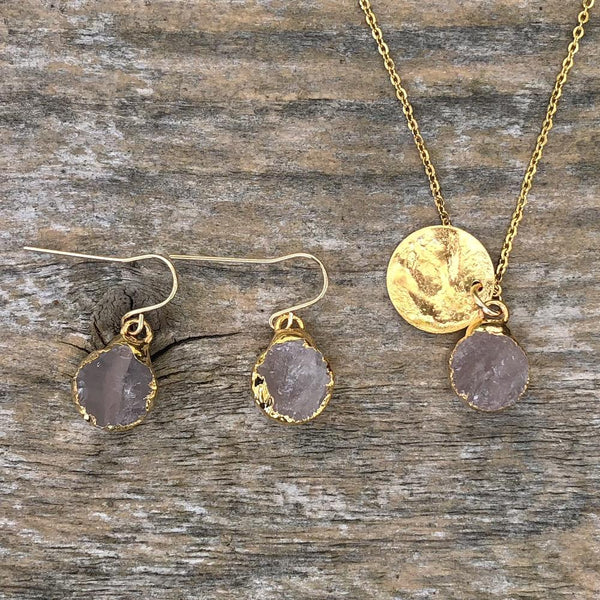 Gold plate Rose Quartz circular pendant and earrings set